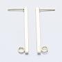 долговечные латунные серьги-гвоздики, с петлей, реальный 18 k позолоченный, никель свободный, бар, 35x2.5x2.5 mm, отверстия: 3 mm; контактный: 1 mm