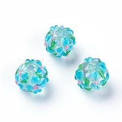 Fait main perles au chalumeau cahoteuses, rond, turquoise, 14~15mm, Trou: 1.5~1.6mm(LAMP-E021-07A)