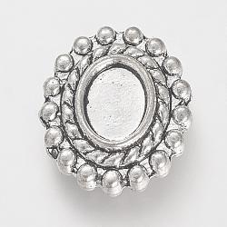 тибетский стиль сплава cabochon многожильные ссылки настройки, свинца, Старинное серебро, лоток: 8x6 мм; 17x14x4 мм, отверстия: 1 mm(X-TIBEP-R352-21AS-LF)