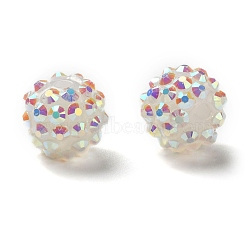 Resin Rhinestone Beads, with Jelly Style Inside, AB Color, Round, White, 14x12mm, Hole: 2mm(RESI-S253-14mm-GAB1)