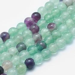 """Chapelets de perles en fluorite naturel, rond, 8mm, trou: 2mm; environ 48 pcs/chapelet, 15.3""""(G-K287-09-8mm)"""