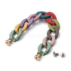 Spray Painted Acrylic Curb Chain for DIY Keychains, Phone Case Decoration Jewelry Accessories, with Brass Screw Nuts and Iron Screws, Colorful, 165mm(HJEW-JM00400-05)