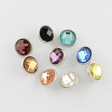 Flat Round Brass Faceted Glass Jewelry Snap Buttons, Platinum, 12x7mm, Knob: 4.3mm(X-RESI-S056-M)