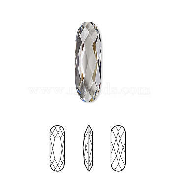 Austrian Crystal Rhinestone, 4161, Crystal Passions, Foil Back, Faceted Long Classical Oval Fancy Stone, 001_Crystal, 15x5x2mm(X-4161-15x5mm-001(F))