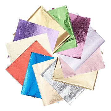 Gorgecraft Foil Paper, For Arts, Gilding Crafting, Square, Mixed Color, 8x8.6cm; 12 colors, 50sheets/color, 600sheets/set(DIY-GF0001-80)