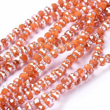4mm OrangeRed Rondelle Glass Beads