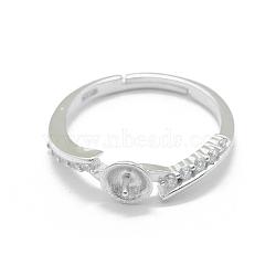 Composants de bague réglables en 925 argent sterling, pour la moitié de perles percées, avec zircons, clair, platine, taille 6, 16 mm; broches: 0.8 mm(STER-L055-024P)
