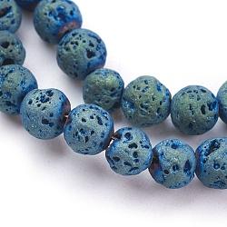 placage sous vide électrolytique brins de perles de lave naturelle, arrondir, vert plaqué, 6~6.5 mm, trou: 1 mm; environ 66 perle / brin, 14.96 (38 cm)(G-K259-58-6mm-01)