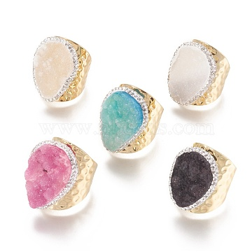 Natural Druzy Agate Cuff Rings, Open Rings, with Brass Findings and Rhinestone, Golden, Mixed Color, Size 9, 18~19.5mm(RJEW-E159-01G)