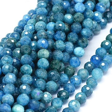 Natural Apatite Beads Strands, Faceted, Round, 7mm, Hole: 1mm; about 56pcs/strand, 15.3inches(39cm)(G-O180-12-7mm)