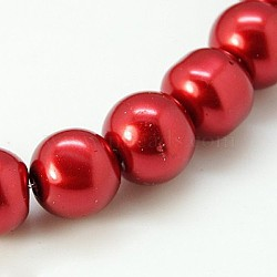 Glass Pearl Round Loose Beads For Jewelry Necklace Craft Making, FireBrick, 8mm, Hole: 1mm, about 105pcs/strand