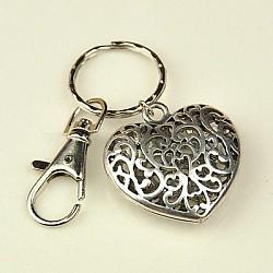 Valentines cadeaux de jour coeur porte-clés de style tibétain, avec les accessoires de fermoir clés de fer et fermoirs pivotants en alliage, argent antique, 95mm(X-KEYC-JKC0009-25)