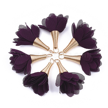 Iron Pendants, with Chiffon, Flower, Golden, Purple, 30~35x20~30mm, Hole: 1~4mm(X-FIND-T034-15)