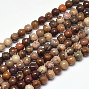 Natural Petrified Wood Round Bead Strands, 6mm, Hole: 1mm; about 63pcs/strand, 15inches(X-G-F266-08-6mm)
