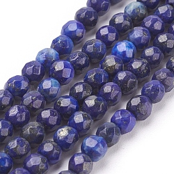 Natural Lapis Lazuli Beads Strands, Faceted Round, MidnightBlue, 4mm, Hole: 1mm; about 96pcs/strand, 15.7inches