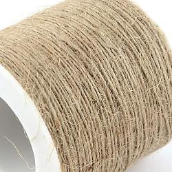 Corde de chanvre, chaîne de chanvre, ficelle de chanvre, 1 plis, pour la fabrication de bijoux, tan, 1 mm; environ 100 m/rouleau(OCOR-Q002-01E)