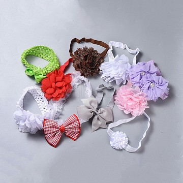 Elastic Polyester Baby Headbands for Girls, Hair Accessories, Bowknot, Mixed Color, 75~115mm(OHAR-MSMC001-03)