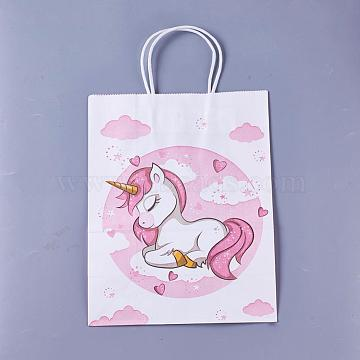 Rectangle Paper Bags, with Handles, Gift Bags, Shopping Bags, Unicorn Pattern, for Baby Shower Party, Plum, 21x15x8cm(AJEW-G019-05S-04)