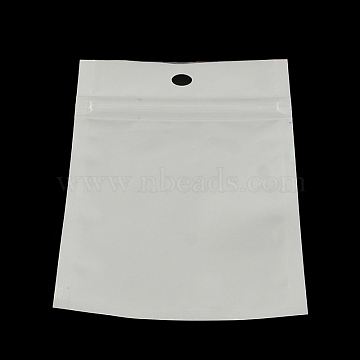 Pearl Film Plastic Zip Lock Bags, Resealable Packaging Bags, with Hang Hole, Top Seal, Self Seal Bag, Rectangle, White, 26x18cm; inner measure: 21.5x16cm(OPP-R003-18x26)