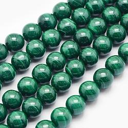 """Chapelets de perles en malachite naturelle, rond, 8mm, trou: 1mm; environ 49 pcs/chapelet, 15.5"""" (39.5 cm)(G-O166-07B-8mm)"""