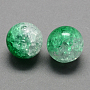 Two Tone Transparent Crackle Acrylic Beads, Half Spray Painted, Round, Sea Green, 12mm, Hole: 2.5mm; about 528pcs/500
