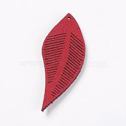 Искусственные замшевые украшения, лист, огнеупорный кирпич, 43~44x16~17x1.5 мм, отверстие : 1 мм(FIND-L006-A14)