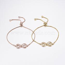bracelets réglables en laiton à micro-pavé de zircons cubiques, bracelets de slider, avec des chaînes de boîte en laiton, infini, couleur mélangée, 10-5 / 8 (270 mm)(BJEW-F302-11)
