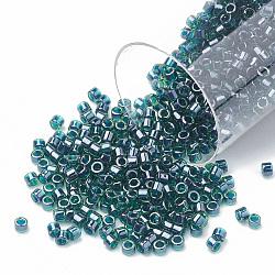 Miyuki® delica beads, perles de rocaille japonais, 11 / 0, (db 0275) lustre émeraude doublé, 1x1.5 mm, trou: 0.5 mm; sur 2000 pcs / bouteille(SEED-S015-DB-0275)