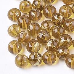Drawbench perles de verre transparentes, rond, de style peint à la bombe , verge d'or, 8mm, Trou: 1.5mm(GLAD-Q017-01G-8mm)
