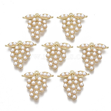 Alloy Pendants, with ABS Plastic Imitation Pearl, Grape, White, Light Gold, 26x25.5x5.5mm, Hole: 1.5mm(PALLOY-T077-07)