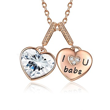 925 Sterling Silver Pendant Necklaces, with Austrian Crystal, Cable Chains, Heart with I Love U Babe, For Valentine's Day, Rose Gold, 001_Crystal(SWARJ-BB35092)