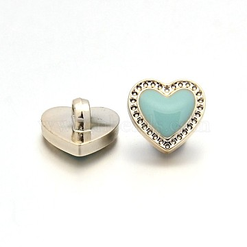 20L(12.5mm) PaleTurquoise Heart Acrylic 1-Hole Button