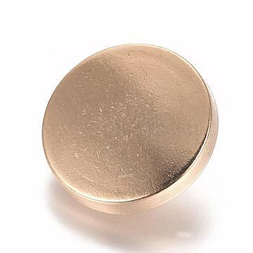 Alloy Shank Buttons, 1-Hole, Flat Round, Light Gold, 18x7mm, Hole: 2mm(BUTT-D054-18mm-05KCG)
