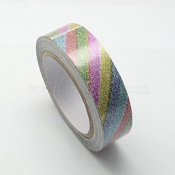 Pattern Printed Cotton Ribbon, with Glitter Powder, and Adhesive Tape on the Other Side, Colorful, 5/8inch(15mm); about 4.37yards/roll(4m/roll), 10rolls/group(OCOR-S079-1.5cm-02)