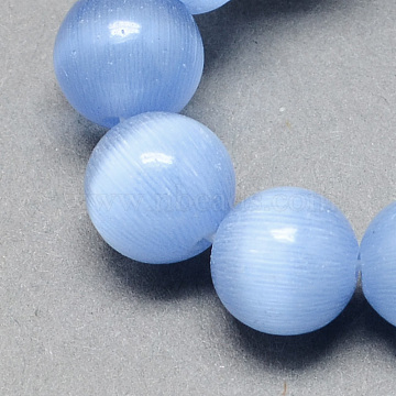 Cat Eye Beads Strands, Round, Cornflower Blue, 6mm, Hole: 1mm, about 66pcs/strand, 14 inches(X-CE-R002-6mm-07)