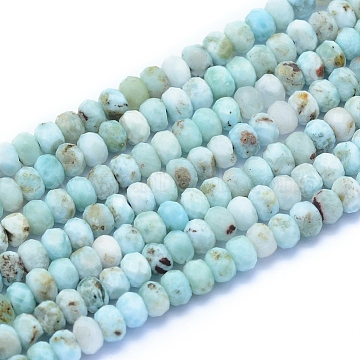 Natural Larimar Beads Strands, Faceted, Rondelle, 5x3~3.5mm, Hole: 0.6mm; about 131pcs/strand, 15.55 inches(39.5cm)(G-I279-D01-03)
