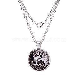 """Yin-yang avec arbre de modèle de vie verre plat rond pendentifs, avec des chaînes d'alliage, argenterie, 18""""(X-NJEW-N0051-010C-02)"""
