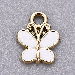 Light Gold Plated Alloy Charms, with Enamel, Butterfly, White, 15x11.5x2mm, Hole: 2mm
