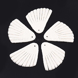 pendentifs de gland en cuir de peau de mouton environnementale, blanc crème, 29~30x27~28x1.5 mm, trou: 1.5 mm(FIND-T045-07B-08)