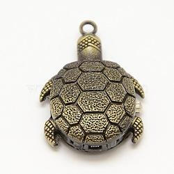 Vintage 3D Tortoise Alloy Quartz Watch Heads Pendants for Pocket Watch Necklace Making, Antique Bronze, 43x29x14mm(WACH-M109-16)