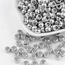 Séparateur perles en plastique CCB, grandes perles d'écharpe de trou, plat rond, couleur platine, longueur d'environ 5 mm ,  largeur de 7 mm, Trou: 4mm(X-PCCBKA281Y)
