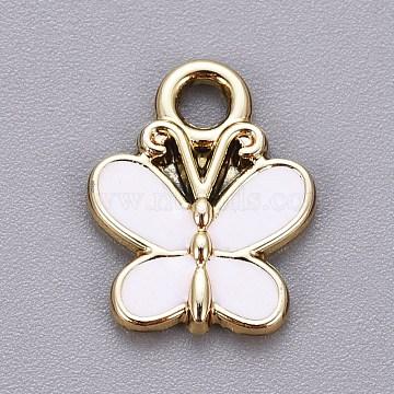 charmes en alliage plaqué or clair, avec l'émail, papillon, blanc, 15x11.5x2 mm, trou: 2 mm(X-ENAM-L029-05KCG)