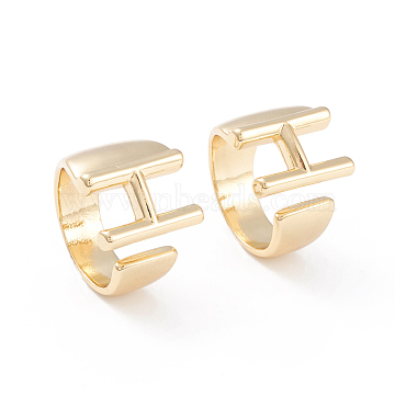 Brass Cuff Rings, Open Rings, Long-Lasting Plated, Real 18K Gold Plated, Letter.H, Size 6, 17mm(RJEW-L097-06H)