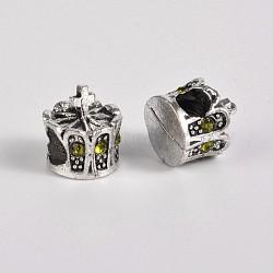 Perles européennes en alliage plaqué argent antique avec strass, grosses perles de la couronne de trous, olivine, 13x12mm, Trou: 5mm(CPDL-J030-09AS)