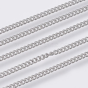 304 Stainless Steel Curb Chains, Soldered, Stainless Steel Color, 1.9x1.5x0.4mm(CHS-F006-03A-P)