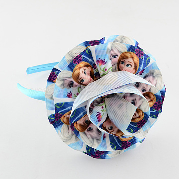 Girls' Kawaii Printed Grosgrain Ribbon Flower Hair Bands, with Plastic, Marine Blue, 110mm(OHAR-R209-04)