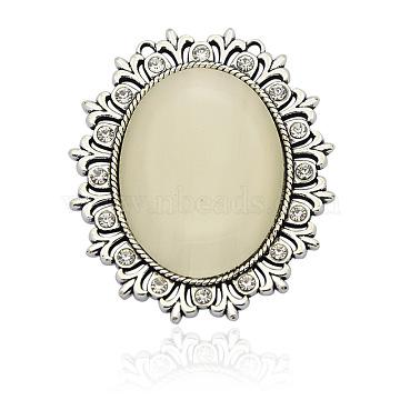 Antique Silver Tone Alloy Cat Eye Oval Big Pendants, with Rhinestones, LemonChiffon, 56x48x7mm, Hole: 1mm(PALLOY-N0077-04)