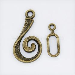 Fermoirs crochet en alliage, couleur de bronze antique, 13.5x25.5x1.5 mm 6x16.5x1 mm, trou: 2 mm; bar: 6 mm de large, Longueur 16.5mm, épaisseur de 1mm, Trou: 2mm(X-PALLOY-DK-2008-AB)