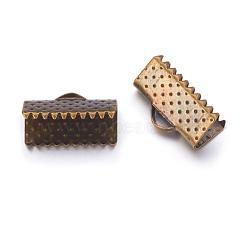 Plaqué bronze antique embouts ruban de fer, sans nickel, 7x13mm, Trou: 2mm(X-E005Y-NFAB)