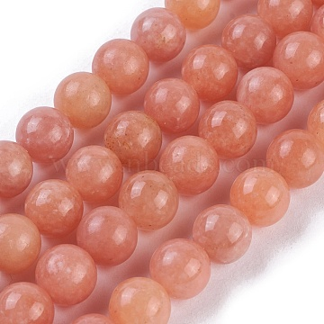 Natural Peach Calcite Beads Strands, Round, 10mm, Hole: 1mm, about 38~40pcs/strand, 15.3''~15.75''(39~40cm)(G-I247-12C)